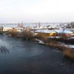 Camping at frozen river